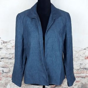 Talbots 14p Blue Chambray Linen Open Blazer Jacket